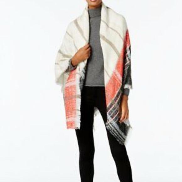 Vince Camuto Accessories - Vince Camuto Plaid Square Blanket Wrap
